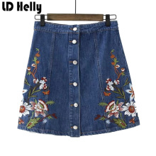 2017 Women Vingate Floral Embroidery Denim Skirts Female Sweet Single-Breasted Mini A-Line Jeans Woman Skirt Saias Femininas