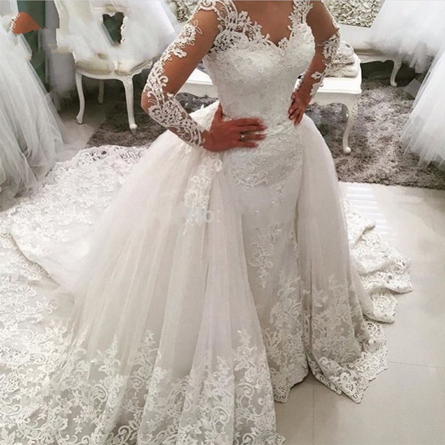 Wedding Dresses 2018 Mermaid with Train Illusion V Neck Long Sleeves Appliques Lace Saudi Arabic Wedding Gown Bridal Dresses
