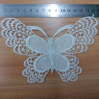 White Lace Water Soluble Embroidery Trims Craft Butterfly  Lace For underwear Decorative Fabric Applique Scrapbooking Trimming