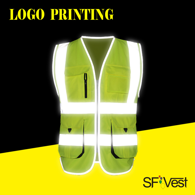 SFVest vest High visibility reflective safety vest company logo printing waistcoat for construction transportation free delivery sfvest vest high visibility hi viz reflective safety waistcoat traffic vest multi pocket waistcoat for fix repair free shipping
