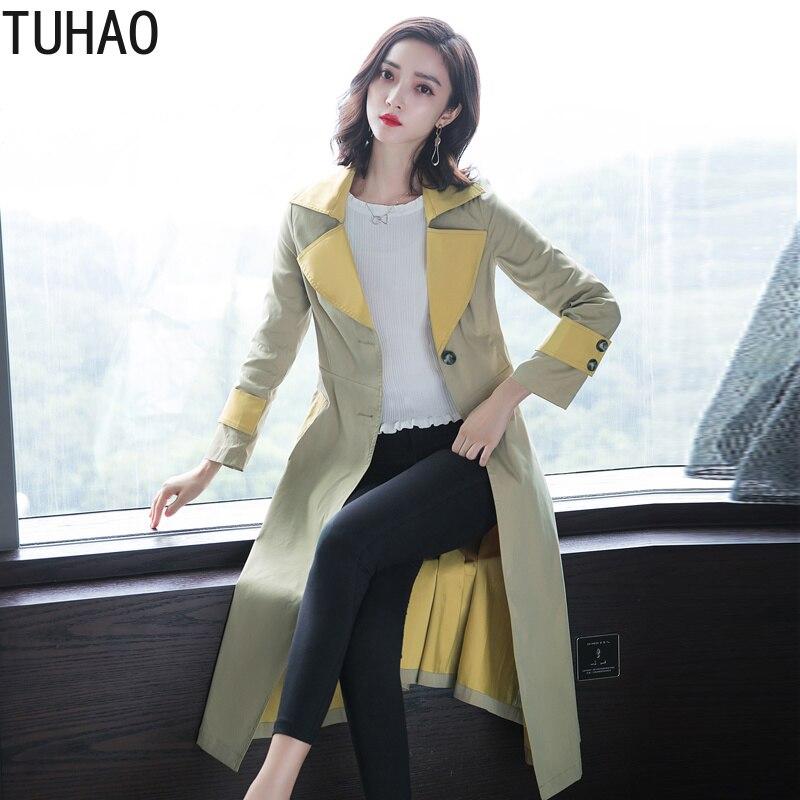 TUHAO bureau dame piste long manteau élégant jaune Trench manteau femmes automne vêtements d'extérieur trench manteaux femme pardessus HQ33