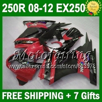 7gifts+ For Kawasaki red blk 08 09 10 11 12 Ninja 250R 17J261 EX250 EX 250 ZX250R Fairing 2008 2009 red black 2010 2011 2012