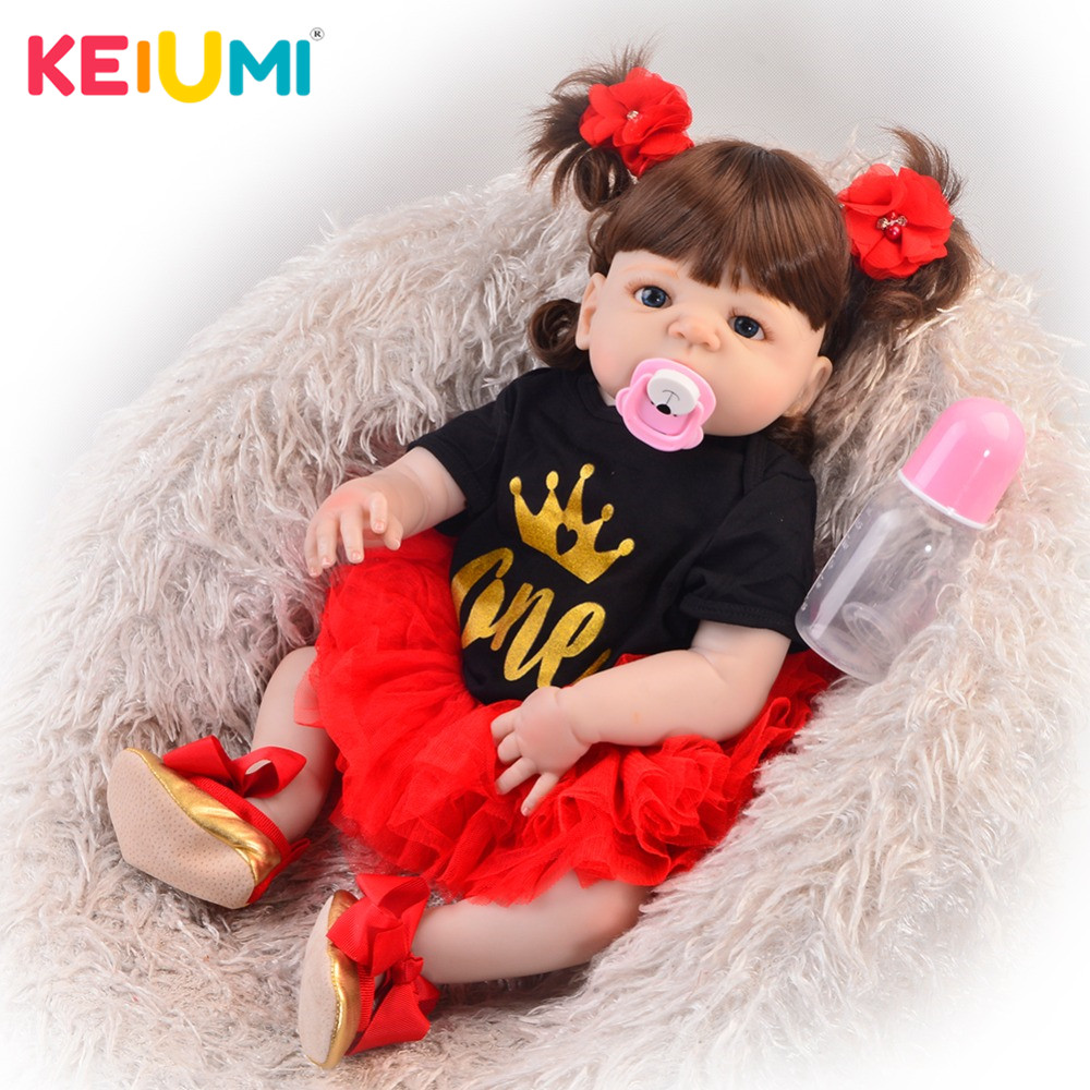 Exclusive 23 57 cm Reborn Baby Girl Full Silicone Body Reborn Dolls Realistic Kids Playmates Baby
