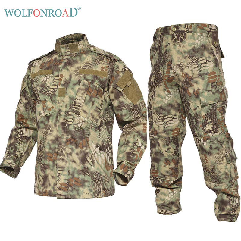 WOLFONROAD Python Style Camouflage Uniform Tactical Military Uniform Combat Hunting Suit BDU Outdoor Training Jacket and Pant outdoor men s camouflage combat tactical jacket set men military uniform combat ghillie suit army hunting hiking training suit