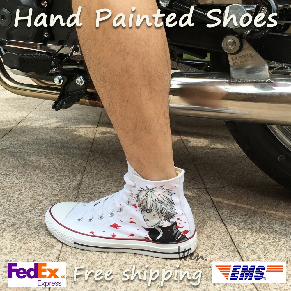 Wen Anime White Hand Painted Shoes Design Custom Tokyo Ghouls High Top Men  Women s Canvas Sneakers Birthday Gifts d43d4872b7ca