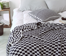 handmade cotton plaid blanket for bed sofa chunky knitted weighted throw adult summer quilt Bedspread