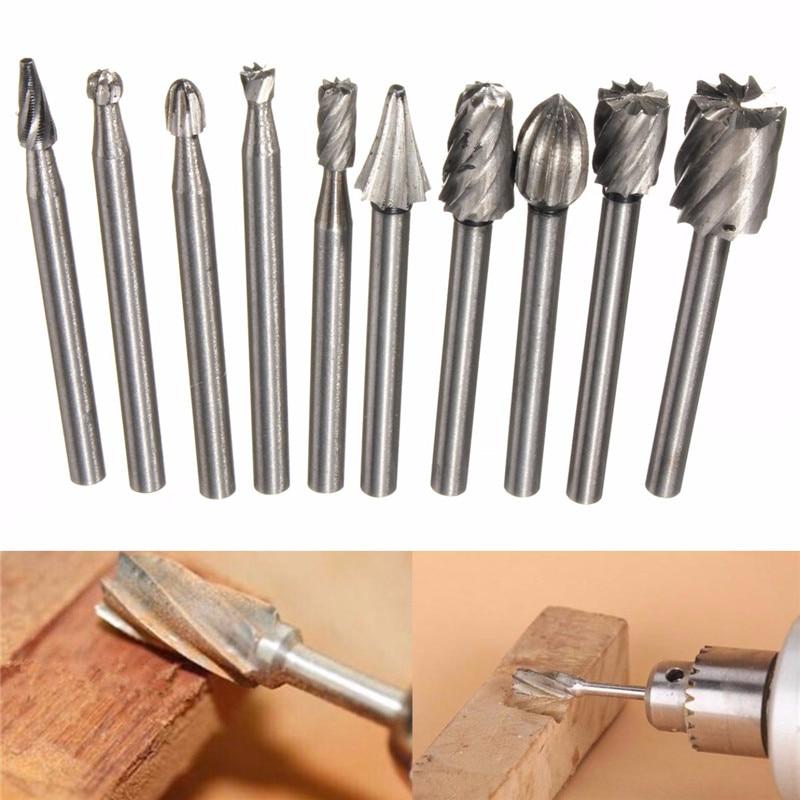 10 pz / set di punte per trapano per legno Burr Set di file rotanti - Punta da trapano - Fotografia 6