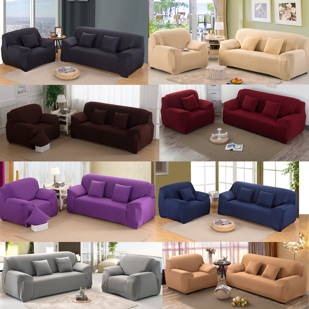 Sofa Cover Slipcover Stretchable Pure Color Sofa Cushion Washable Sofa Covers Single/Two/Three seat Sofa Cover for Home Office