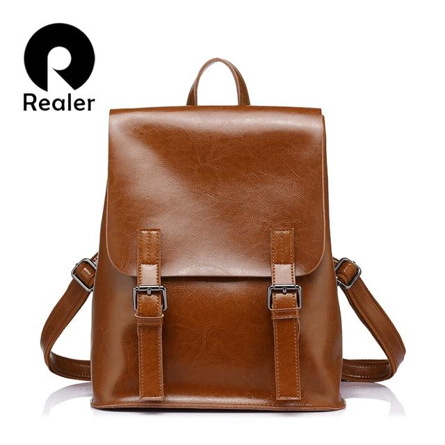 REALER brand fashion backpack women leather genuine backpacks for teenage girls female backpacks  large capacity shoulder bags