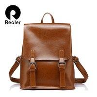 REALER Brand Fashion Backpack Women Leather Genuine Backpacks For Teenage Girls Female Backpacks Large Capacity