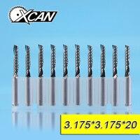 XCAN 10pcs 3 175mm CNC End Mills Cutting Length Edge 17 20 22mm One Flute Spiral