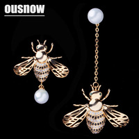 OUSNOW Brand S925 Silver Needle Exquisite Cute Irregular Pearl Bee Design Lady Personality Long Earrings