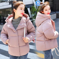 2018 New Winter Down Thick Jacket Cotton Women Short Loose Warm Hooded Casual Camperas Mujer Abrigo Invierno Loose Coat N64