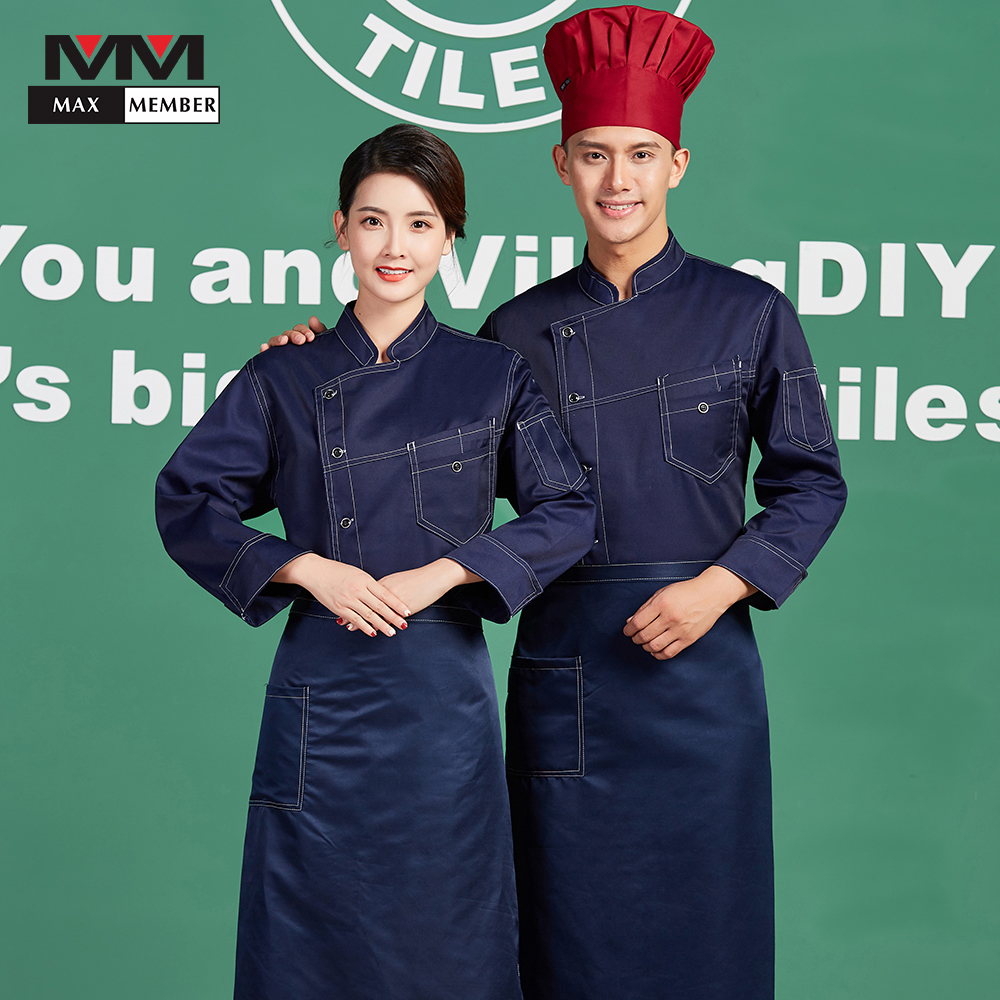 New Unisex Restaurant Food Service Long Sleeve Single Breasted Chef Kitchen Work Jackets Uniforms Cooking Clothing Coat Overalls