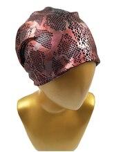 B17823 Новейший набор python металлик спандекс Эластичные шапочки мода черный ромб печатных девушки шапки шапочки для женщин