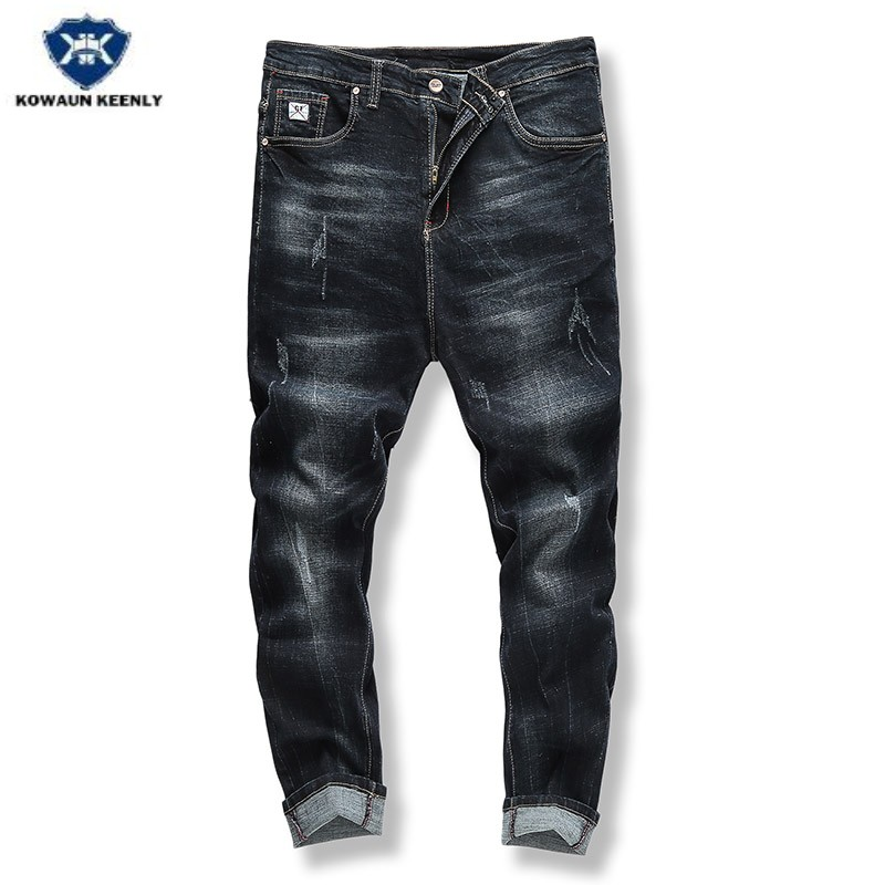 Kowaunkeenly 2018 new arrival Mens high quality Slim big size elastic jeans trousers,Casual black jeans pants,szie 34-48.