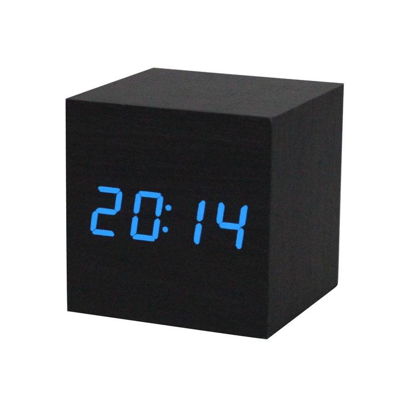 1PC Digital LED Black Wooden Wood Desk Alarm Brown Clock Voice Control Sep23