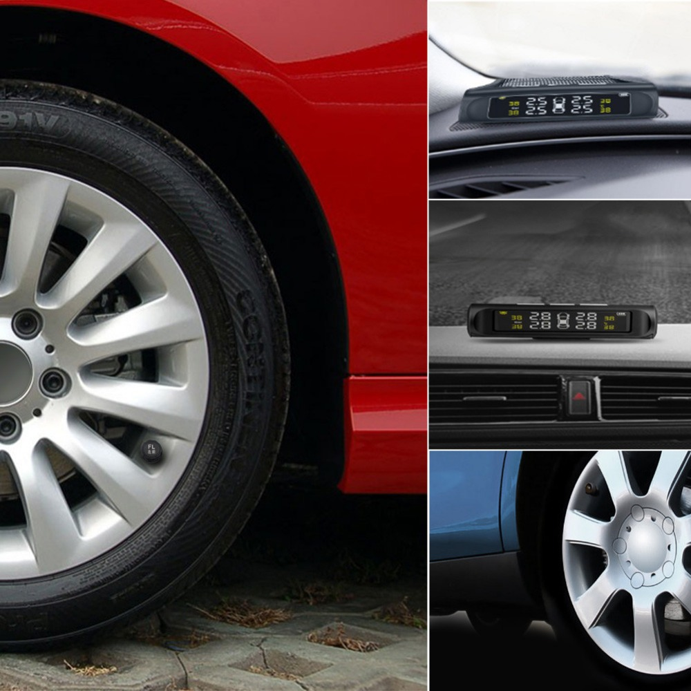 Solar Charging Car TPMS Tire Pressure Monitoring System HD Digital LCD Display Auto Alarm tool Wireless 4 Sensor USB port