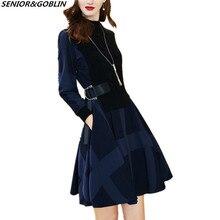 Новинка, зимние женские модные вязаные платья с длинным рукавом, осенние женские платья с высокой горловиной в стиле пэчворк, офисное повседневное винтажное платье-свитер