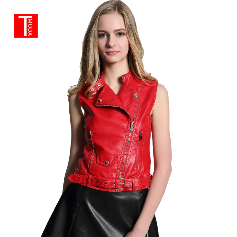 2018 New Fashion Women Spring Autunm Red Faux   Leather   Vest Jackets Lady Bomber Motorcycle Cool Outerwear Coat with Belt