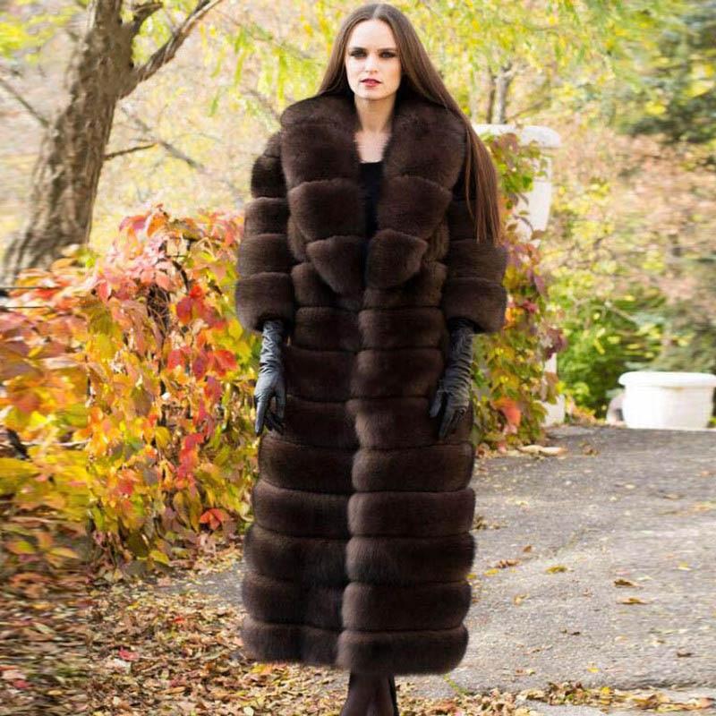 Parc Femmes Collar Avec Luxe Naturel Fourrure Épaisse Chaud De Réel Plus Renard Turn Veste Pelt down Long La Manteau Complet Taille length 110cm Length 120cm IqwIapP