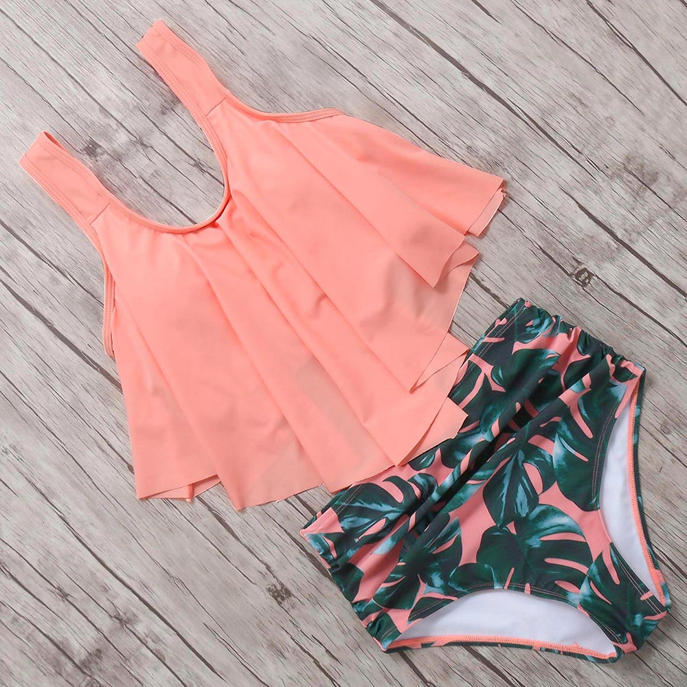 Plus Size Bikini 2019 High Waist Swimwear Women Push Up Swimsuit Ruffled Bikini Set Female Beachwear Bandage Brazilian Biquini