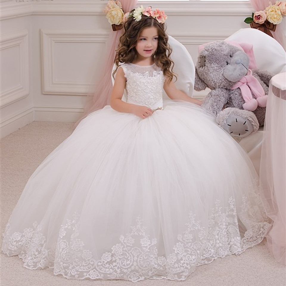 White Communion Dresses Ball Gown Lace Beading Solid O Neck Flower
