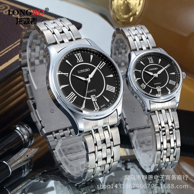 Longbo Luxury Brand High Quality Roman Numerals Auto Calenda Gold Stainless stee