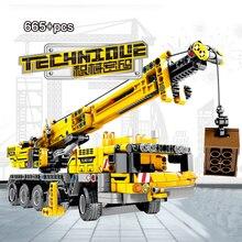 665pcs Technic Engineering Lifting Crane Building Blocks truck Construction Brick Toys For children
