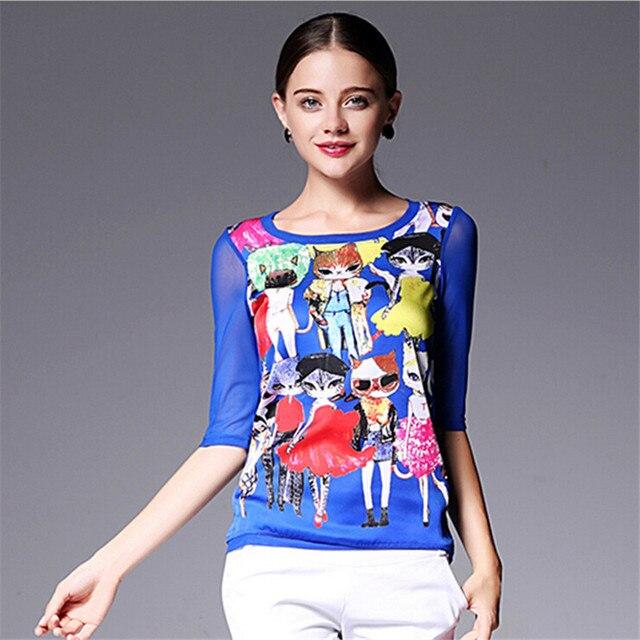 2016 Summer Silk Half Sleeve Women T-shirt Plus Size XXL Print Cat Tops For Women Casual Poleras De Mujer Super Thin Top t shirt