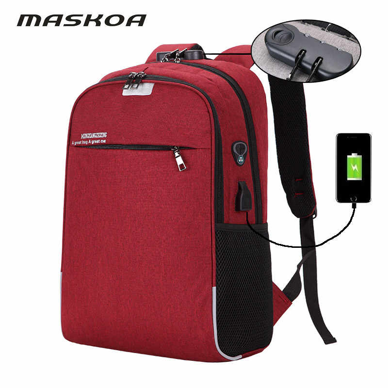 New Red fashion backpack bags for women 2019 USB Charging Anti-theft password lock laptop notebook school bag travel backpack