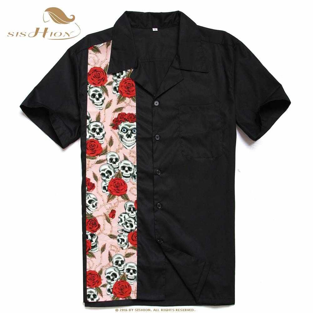 SISHION Ретро стиль короткий рукав мужские короткие ST110 череп и цветочный пэчворк