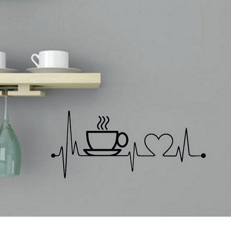 Creative Coffee Cup Vinyl Wall Stickers For Kitchen Wall Art Home Decor