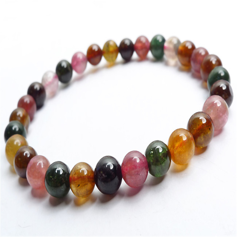 6mm Genuine Mix Colors Tourmaline Quartz Crystal Beads Bracelet For Women Femme Charm Stretch Round Bead Bracelet6mm Genuine Mix Colors Tourmaline Quartz Crystal Beads Bracelet For Women Femme Charm Stretch Round Bead Bracelet