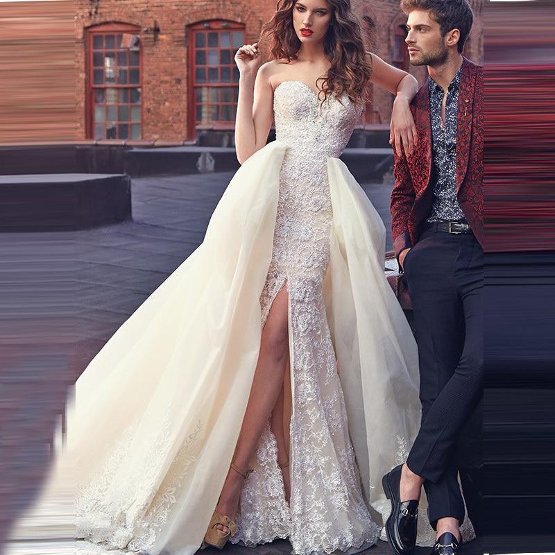 2017 Champagne Wedding Dresses Detachable Train High Split