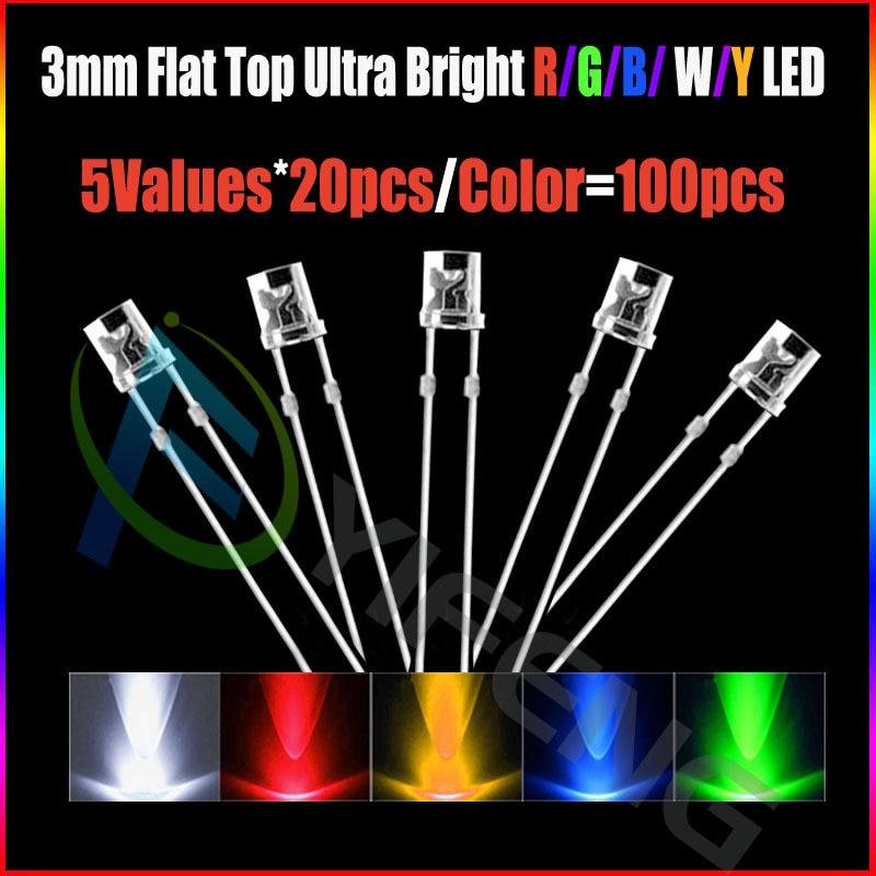3mm Orange Flat Top LED Wide Angle Lamp Bright Leds Light Long Pins 100pcs