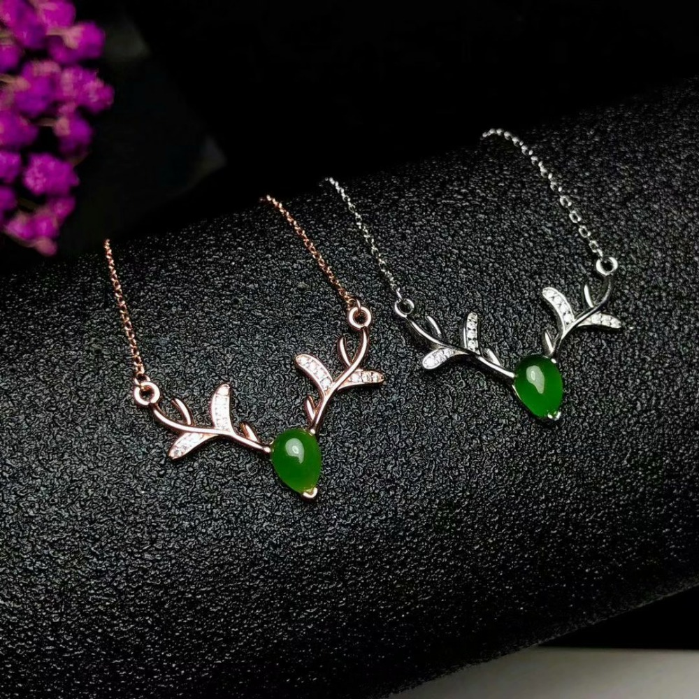 925 sterling silver Natural green Jasper pendants classic fine Jewelry women wedding plant wholesale new yhlp050701agby