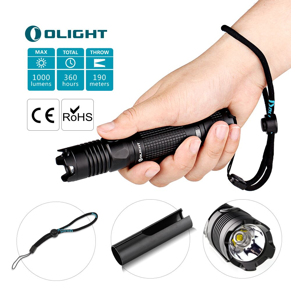 Olight LED Torch 1000 LM M1X Striker 18650 Tactical led Flashlight Cree XM L2 Dual Switch 5 brightness levels for self-defense lumintop tactical flashlight p16x 18650 flashlight with battery with cree xm l2 led torch type max670 lumens