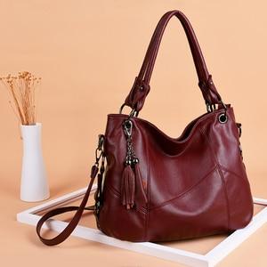 Image 4 - Luksusowe torebki Tassel torebki damskie Designer Sac A Main Casual duże torba z rączkami torebka damska skórzana torebka Vintage na ramię dla kobiet