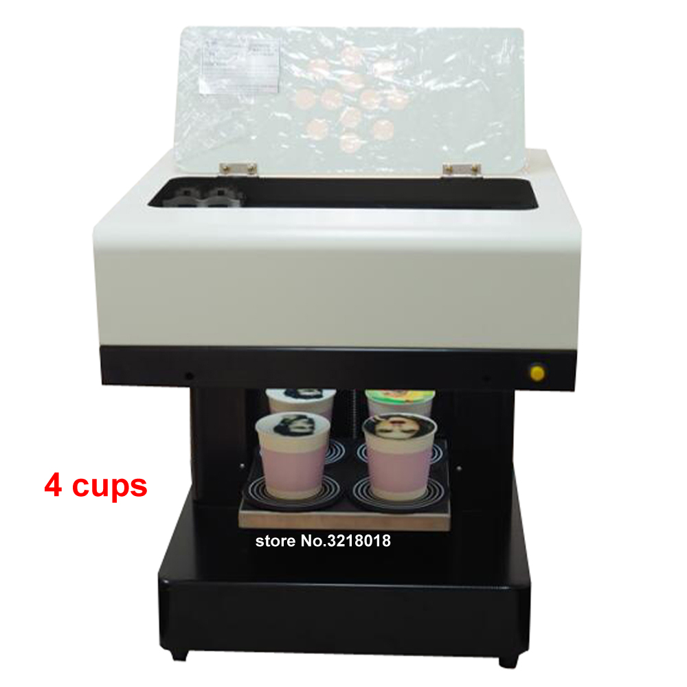 DIY Coffee Printer 4 cups Automatic Art Coffee Printer Latte Printing Machine Cake Coffee Printer For Chocolate Dessert Drinks coffee printer food printer inkjet printer selfie coffee printer full automatic latte coffee printe wifi function