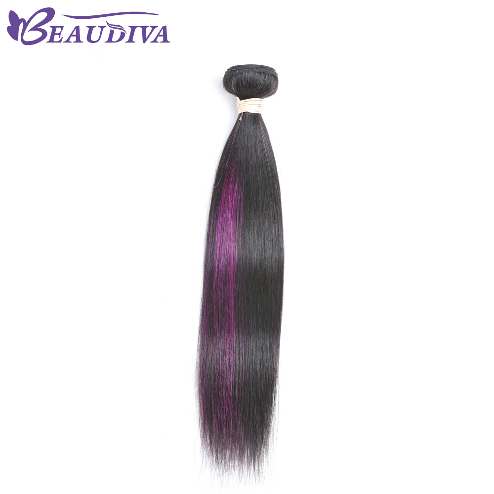BEAUDIVA Pre-Colored Brazilian Straight Purple Ombre Hair Extensions Purple Balayage Color Hair Weave Bundles 10-24 inches