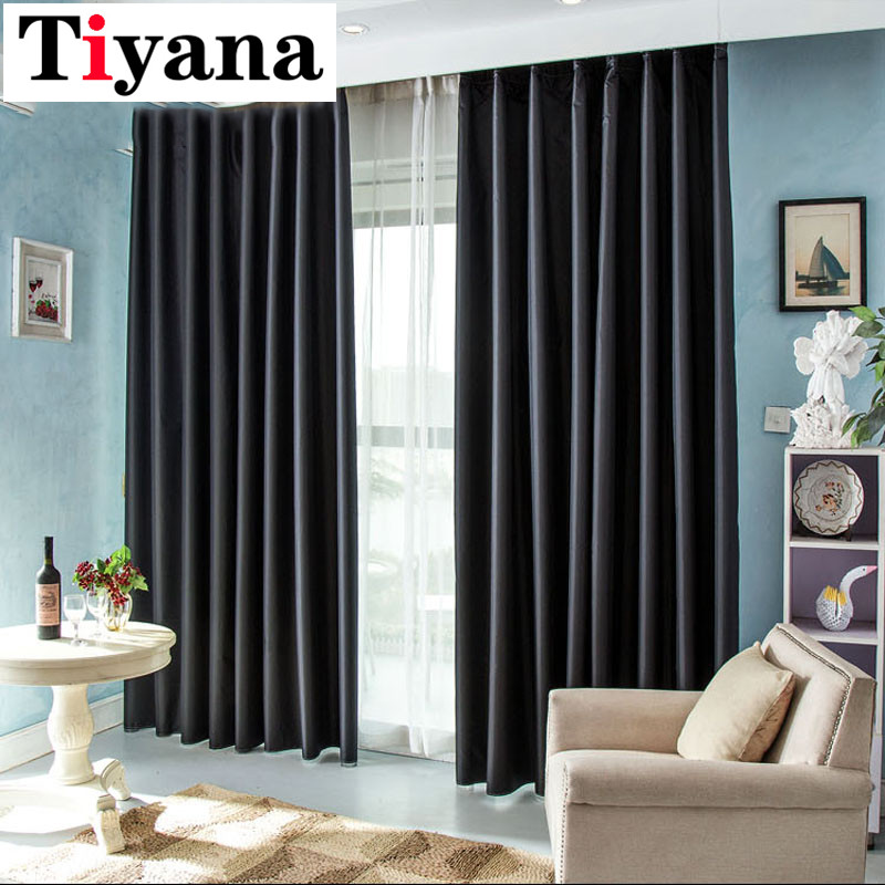 Europe Modern Solid Blackout Curtains For Bedroom Luxury Black Shade Thick Fabric Night Curtain Cortinas Custom Made DIY P092X