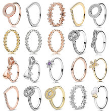 Special Offer Rose Gold Silver 49 Styles Fit Fine Finger Ring Stackable Party Round Ring Women Original Jewelry Gift 2019 New(China)