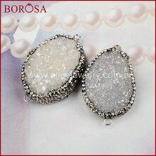 BOROSA Oval Doğal Kristal Titanyum AB Druzy Bağlayıcı Çift Kefaletler Kaplamalı Zirkon Druzy Takı Taşlar Kadınlar için JAB164
