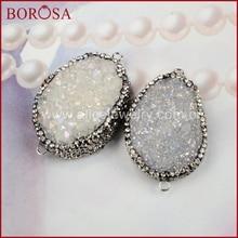 Borosa البيضاوي الطبيعية الكريستال التيتانيوم ab druzy موصل الكفالات مزدوجة مهدت الزركون druzy gems للنساء JAB164