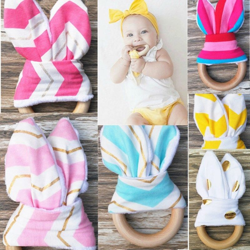 Cute New Wooden Natural Chewie Teether Bunny Sensory Toy Baby Kids Teething Ring