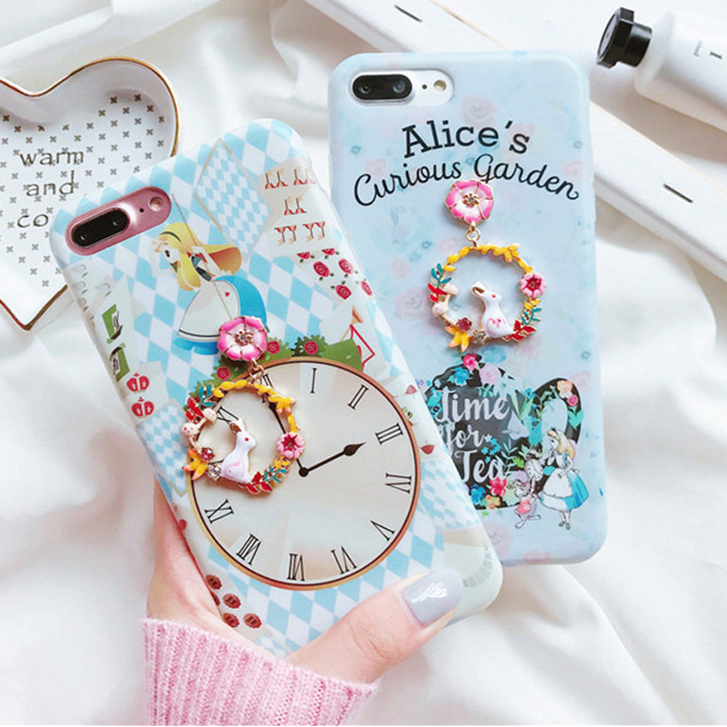 for iphone x alice curious garden rabbit clock pendant soft tpu cover case for iphone 8 6 6s 7. Black Bedroom Furniture Sets. Home Design Ideas
