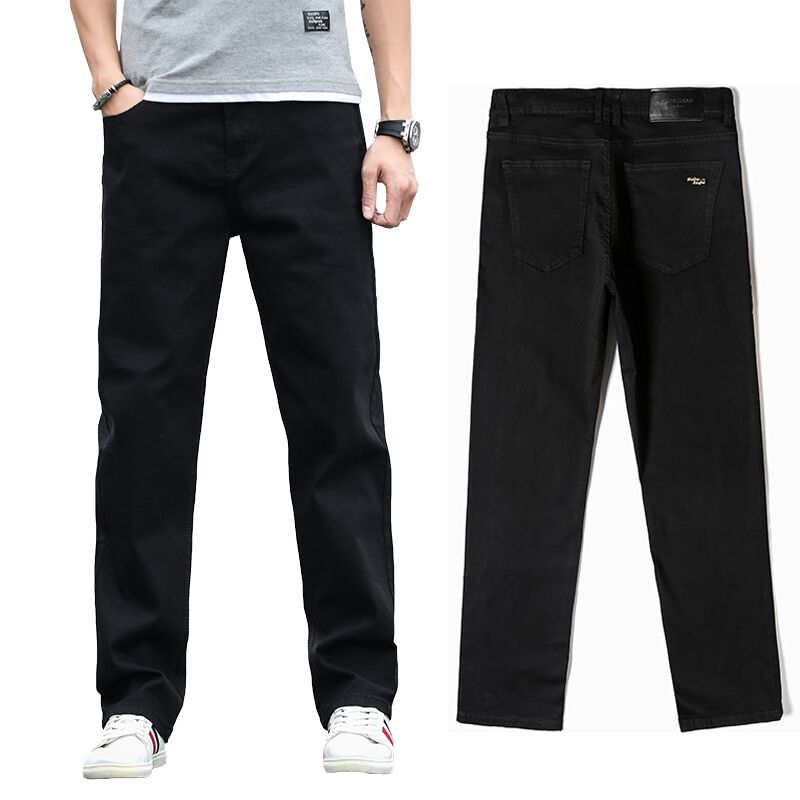 2019 New Men's Classic Straight Black Jeans Fashion Business Casual Elastic Loose Trousers Male Brand Pants Plus Size 40 42 44