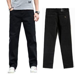 Image 1 - 2020 חדש גברים של קלאסי ישר שחור ג ינס אופנה עסקים מקרית אלסטי רופף מכנסיים זכר מותג מכנסיים בתוספת גודל 40 42 44