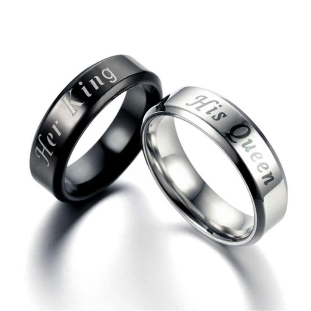 Stainless Steel Rings With Her King And His Queen Engravings
